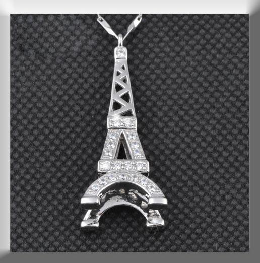 925纯银巴黎铁塔吊坠瓜子项链